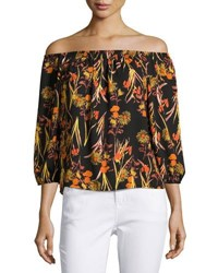Collective Concepts Off The Shoulder Floral Print Top Orange