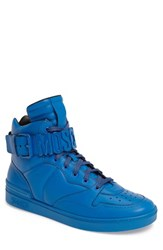 Moschino Men's High Top Sneaker Blue Leather