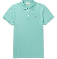 Maison Kitsune Cotton Pique Polo Shirt Mint