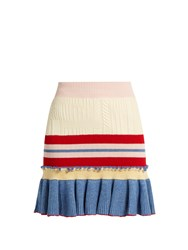 Alexander Mcqueen Ruffled Hem Striped Wool And Silk Blend Skirt Multi
