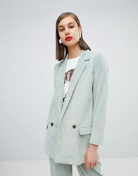 Moss Copenhagen Blazer In Corduroy Co Ord Dusty Mint Green