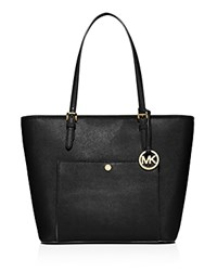 Michael Michael Kors Jet Set Large Top Zip Snap Pocket Tote Black Gold