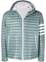 Thom Browne 4 Bar Stripe Satin Finish Quilted Down Grey