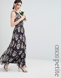 Asos Petite Wedding Pleated Maxi Dress With Ruched Detail In Vintage Floral Print Multi