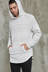 Forever 21 Marled Knit Hoodie Heather Grey