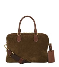 Ralph Lauren Black Label Suede Briefcase Unisex Brown