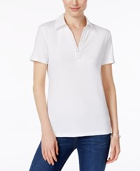 Karen Scott Studded Collared Cotton Top Only At Macy's Bright White