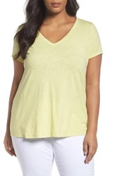 Eileen Fisher Plus Size Women's Organic Slub Cotton Jersey Tee Lemon Ice