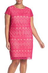 Plus Size Women's Eliza J Cap Sleeve Lace Shift Dress Pink