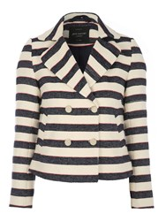 Jane Norman Striped Long Sleeve Textured Jacket Multi Coloured