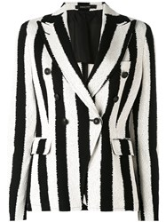 Tagliatore Striped Blazer Women Cotton Cupro 44 Black
