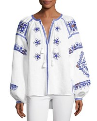 Vita Kin Embroidered Puff Sleeve Linen Blouse White Blue White Blue