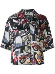 Hache Bike Print Shirt Women Viscose 38 Black