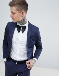 Noose And Monkey Super Skinny Suit Jacket In Print Navy