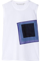 Reed Krakoff Appliqued Cotton Poplin And Stretch Cotton Jersey Top White