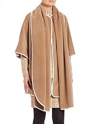 Akris Punto Contrast Piping Wool And Cashmere Cape Camel