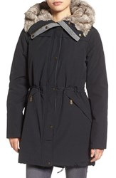 Vince Camuto Women's Parka With Faux Fur Lined Hood Black