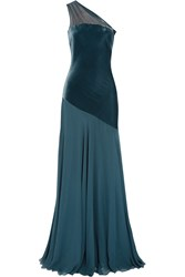Amanda Wakeley One Shoulder Velvet Paneled Silk Crepe Gown Blue