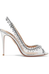 Aquazzura Temptation 105 Embellished Metallic Leather And Pvc Slingback Pumps Silver