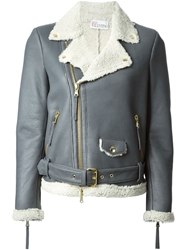 Red Valentino Shearling Lined Biker Jacket Grey