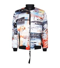 Blood Brother All Over Digital Print Bomber Jacket Male Multi