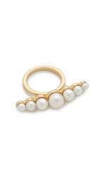 Rachel Zoe Sophia Imitation Pearl Bar Ring Gold Pearl
