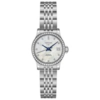 Longines L23200876 'S Record Automatic Chronometer Date Diamond Date Bracelet Strap Watch Silver White