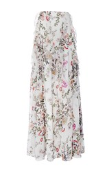Giambattista Valli Floor Length Floral Ruffle Skirt White