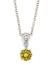 Fantasia Canary And White Cz Crystal Pendant Necklace