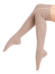 Ilux Orla Cable Knit Over The Knee Socks Gigi Grey Black