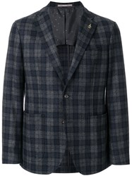 Paoloni Checked Suit Jacket Polyamide Acetate Viscose Virgin Wool Grey