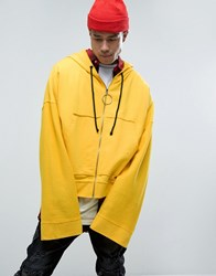 Granted Cropped Hoodie In Yellow With Super Long Sleeves Yellow