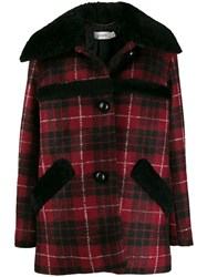 Coach Checked Shearling Coat Red