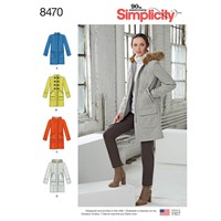 Simplicity Women's Lined Coat With Collar Hood And Pocket Variations Sewing Pattern 8470