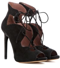 Tabitha Simmons Reed Suede Lace Up Ankle Boots Black
