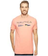 Nautica Flags Tee Pale Coral Men's Clothing Pink