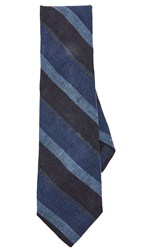 Thomas Mason Wide Stripe Tie Indigo Brown