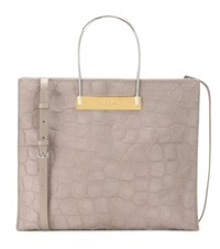 Balenciaga Cable Shopper Medium Embossed Calf Hair Tote Grey