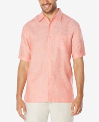 Cubavera Men's Crosshatch Linen Short Sleeve Shirt Emberglow