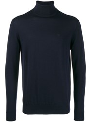 Emporio Armani Embroidered Logo Turtleneck Sweater Blue