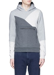 Scotch And Soda Patchwork Cotton Blend Fleece Lined Hoodie Grey