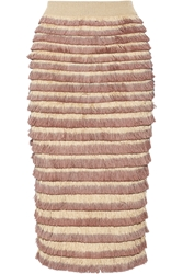 Burberry Fringed Knitted Cotton Blend Midi Skirt