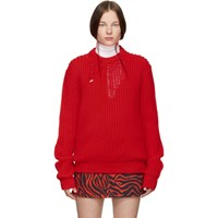 Calvin Klein 205W39nyc Red Technical Knit Sweater