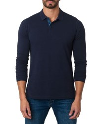 Jared Lang Long Sleeve Cotton Blend Polo Shirt Navy