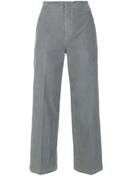 Pt01 Cropped Corduroy Trousers Cotton Spandex Elastane Grey