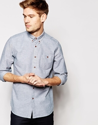 Asos Oxford Shirt In Long Sleeve With Lightweight Nep Khaki