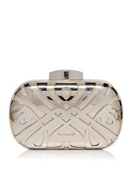 Biba Logo Box Clutch Bag Silver