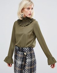 Lost Ink Double Ruffle High Neck Top Khaki Green