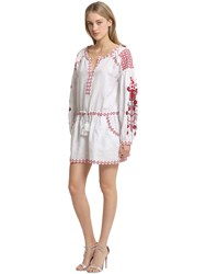 Cc By Camilla Cappelli Embroidered Light Linen Dress