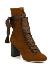 Chloe Harper Suede Lace Up Ankle Boots Chocolate